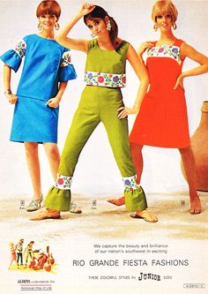 groovy juniors fashions | 1967 vintage fashion style color photo print ad 60s 70s mod dress shift pant suit outfit pants top shirt go-go style green blue red