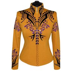 Goldenrod, Black and Purple Western Show Shirt (S) Western Show Shirts, Western Show Clothes, Western Outfits, Show Jackets, Printed Blazer, Blue Denim, Westerns, Couture, Purple