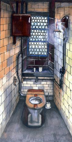 John Ryland's Toilet Cubicle, Manchester by Anthony McCarthy. Toilet Cubicle, Limited Edition Prints, Manchester, Spaces, Interior Design, Drawings, Illustration, Artist, Nest Design
