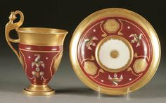A FINE FRENCH EMPIRE PORCELAIN CUP AND SAUCER mid 19th century