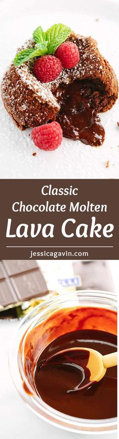 Classic Chocolate Molten Lava Cake - Looking for a romantic dessert ideas? Impress that special someone with an indulgent 5 ingredient tender cake with oozy chocolate filling.   jessicagavin.com