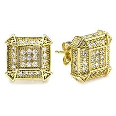 18k Yellow Gold Plated CZ Cubic Zirconia Cube Shaped Hip Hop Iced Cube Stud Earrings (10 mm x 10 mm )  http://electmejewellery.com/jewelry/mens-jewelry/mens-earrings/18k-yellow-gold-plated-cz-cubic-zirconia-cube-shaped-hip-hop-iced-cube-stud-earrings-10-mm-x-10-mm-com/