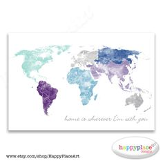 Large world map wall art poster with personalised text or quote large world map wall art poster with personalised text or quote aqua and purple watercolor map print or printable push pin world map gift gumiabroncs Choice Image