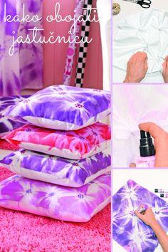 Bojama za tekstil brzo i jednostavno obojite bijele jastučnice! Osvježite izgled vašeg dnevnog boravka i dobro se zabavite stvarajući zanimljive uzorke i motive. Špagom zavežite čvorove na nekoliko mjesta, posprejajte bojom i pričekajte da se osuši. Odvežite špagice i linerima dodajte detalje. Nakon sušenja fiksirajte boju glačanjem na temperaturi za pamuk i vaše jastučnice su spremne!  #textileart #fashionspray #marabu #textiledesign Textiles, Diy, Fashion, Moda, Bricolage, La Mode, Fasion, Do It Yourself, Fashion Models