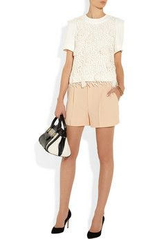 Chloé                                  Crochet-wool and crepe top