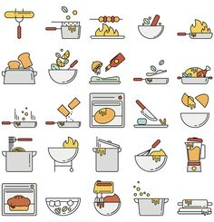 Simplicity and style of these icons stood out to us. We're not too stuck on the colors. Two images we like most are the frying pan with the seasonings (third row, second from left) and the pot (fourth row, third from left). We would like to combine the two to create an icon of a pot with seasoning being sprinkled in.