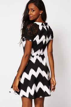 Black and White Skater Dress