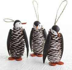 28. Pine Cone Penguins - 35 Pine Cone Crafts to Add a Seasonal Touch…