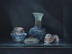 Chinese kommetjes en oud glas - Olieverf op linnen - 50 x 65 cm - beschikbaar www.pitavreugdenhil.nl
