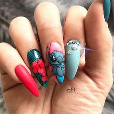 Wearing my press ons 🤩🌺 These nails are enriched with real Swarovski crystals as always from 💎 Use my code… Disney Acrylic Nails, Halloween Acrylic Nails, Summer Acrylic Nails, Disney Nails, Best Acrylic Nails, Colored Acrylic Nails, Edgy Nails, Grunge Nails, Funky Nails