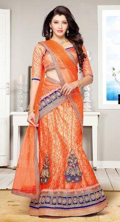 Orange Net And Brocade Designer Lehenga Choli Garba Chaniya Choli, Lehanga Saree, Anarkali, Sari, Indian Bridal Sarees, Indian Lehenga, Moroccan Kaftan Dress, Orange Lehenga, India Fashion