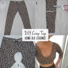 DIY: How To Make Leggings Into A Crop Top!!!!!!