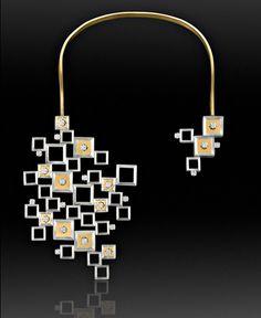 Necklace   Hyangmi Kim. 'Beautiful coexistence'.  Silver, 24k gold plating, zirconia.