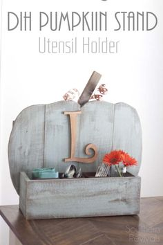 Rustic Pumpkin Stand Utensil Holder - with chalky paint finish