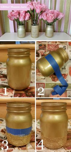 How to make glitter mason jars. Pink and gold. Wedding centerpiece. Bridal shower.