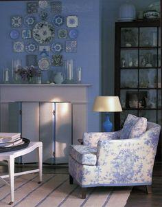 blue & white Bennison fabric on chair