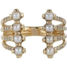 Jennie Kwon Women's Pavé Diamond, Pearl & Gold Cuff Ring ($1,665) ❤ liked on Polyvore featuring jewelry, rings, bracelets, no color, white gold pearl ring, pave band ring, band rings, yellow gold rings and gold pave ring