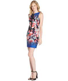 blue floral print 'Venice Beach' zip front dress