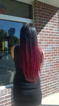 Black to Red and Pink Ombre Hair for Fall.  Long hair.  Don't care.