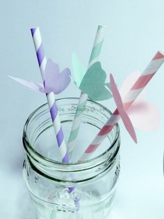 25 Butterfly Toppers For Paper Straws Party Decoration Flags Retro Soda via Etsy