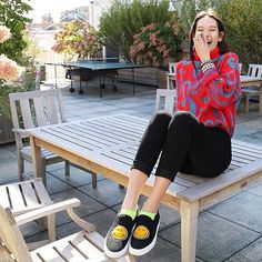 Japanese model Mona Matsuoka wearing the #smiley slipons from #ss15 #joshuasanders collection!