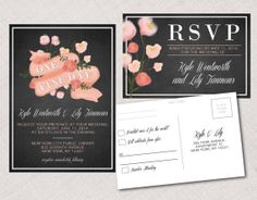 Wood or Chalkboard & Floral Wedding, Party or Shower Invitation