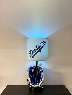 Los Angeles Dodgers Baseball Lamp, Baseball Glove, MLB, man cave, bar light, kids night light, sports, LA Dodgers, LA Dodgers Light, Lamps, Man Cave decor, lights, home and living, baseball, baseball decor, sports decor, night lights, unique gifts, baseball glove lamp, handmade, dodgers, by CaliradoArt on Etsy https://www.etsy.com/listing/526052235/los-angeles-dodgers-baseball-lamp