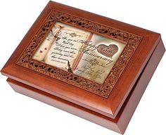 Happy 45th Anniversary Cottage Garden Rich Woodgrain Finish with Ornate Inlay Jewelry Music Box  Plays You Light Up My Life -- You can find more details by visiting the image link.