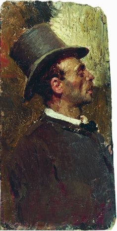 Репин И.. Мужчина в цилиндре. 1875