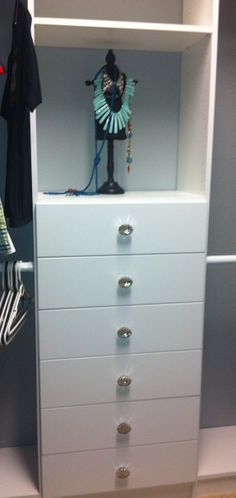 Glass Drawer Knobs Add Elegance To White Custom Closet!  Www.closetsstorageandmore.com Servicing