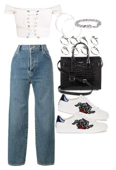 """Untitled #2483"" by mariie00h ❤ liked on Polyvore featuring Yves Saint Laurent, Vetements, Gucci, claire's and ASOS #casualoutfits"