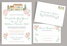 Italian Wedding Invitation with Watercolor Villa and Flowers, European Wedding Invitation, French Country Wedding Invitation, Villa Wedding by Leveret Paperie