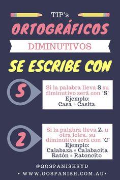 Tip's ortográficos Go Spanish - Repasemos sobre los diminutivos.  #IloveSpanish #Spanishinsydney
