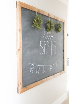 Learn how to make your own large hanging chalkboard with Kristi! Make one for yourself in just a few hours and enjoy through the seasons!
