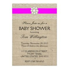 Magenta Pink Burlap Lace and Pearl Baby Shower Personalized Announcements