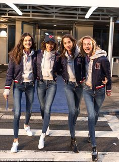 Runway ready: The tarmac proved to be the perfect photo spot for the Tommy Hilfiger show. Baseball Game Outfits, Baseball Socks, Baseball Jerseys, Modelos Victoria Secret, 90s Fashion, Fashion Outfits, Best Friend Photos, Victoria Secret Fashion, Girl Gang