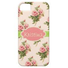 Elegant Vintage Floral Rose Name Case iPhone 5 Cover