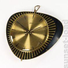 Alte-Wand-Uhr-Atlanta-Mechanisches-Werk-Messing-Vintage-Wall-Clock-50er-Jahre