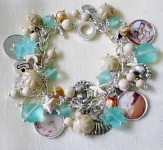 Footsteps In The Sand Handcrafted Charm Bracelet, Recycled Aqua Glass Beads