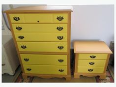Nice 5 drawer (one is a double) tall boy dresser with matching 2 drawer (one is a double) bedside table. Yellow drawers and soft brown body with black hardware. Yellow Drawers, Boy Dresser, Used Victoria, Tall Boys, Brown Bodies, Bedside, Table, Furniture, Tables