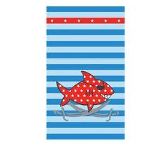 Πετσέτα θαλάσσης τυπωτή, με καρχαρία πειρατή - Nef Nef Homeware