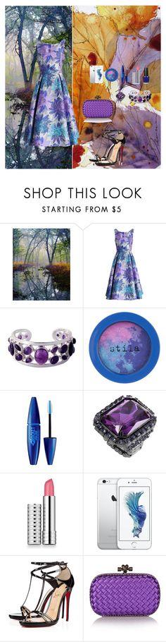 """Purple Rain"" by oksana-kolesnyk ❤ liked on Polyvore featuring Chicwish, NOVICA, Stila, Maybelline, Clinique, Christian Louboutin, Bottega Veneta and OPI"