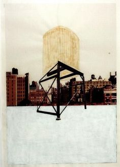 """Drawing for Water Tower, III  Rachel Whiteread (British, born 1963)    (1997). Graphite, varnish, gouache and ink on graph paper with cut-and-pasted color photo copy, 33 1/8 x 23 1/4"""" (84.1 x 59.1 cm). Purchase. © 2012 Rachel Whiteread"""