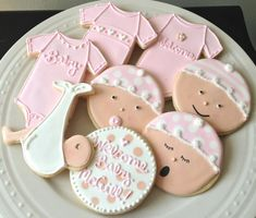 Decorated Personalized Baby Shower Cookies- Girl Onesies and Baby Faces Great Gift or Favors