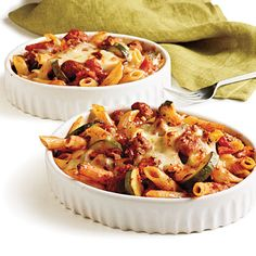 penne rigate with spicy sausage and zucchini in tomato cream sauce ...