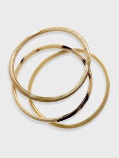 Beige Horn Bangles - Set of 3