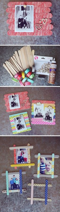28 Best DIY Photo and Picture Frame Crafts (Ideas and Designs) for 2020 Kids Crafts, Craft Stick Crafts, Crafts For Teens, Craft Gifts, Diy For Kids, Diy Gifts For Mom, Diy Mothers Day Gifts, Easy Diy Gifts, Diy Gifts Handmade