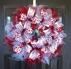 Handmade Candyland Christmas Wreath With Ruffles