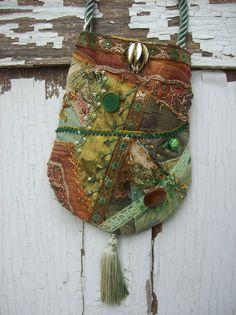 Bohemian Gypsy Hippie Fairy Green Crazy Quilt Cross Body Purse Burlesque Bag