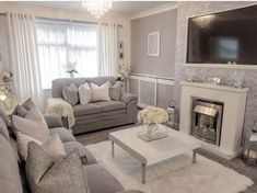 Love this shade of grey and double rug idea and coffee table Decor Home Living Room, Living Room Carpet, Living Room Designs, Home Decor, Narrow Living Room, Living Room Grey, Cozy Living, Grey Wallpaper Living Room, Cosy Room